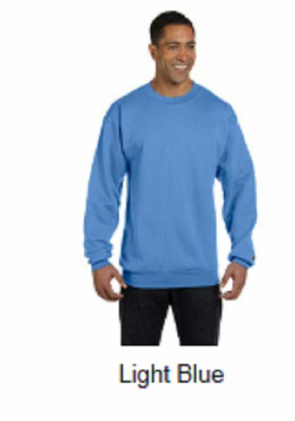 New  Champion 2X 50/50 Eco Smart Crew Neck Sweatshirt Light Blue