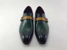 Handmade Men's Green Burnished Monk Strap Dress Formal Leather Shoes image 5