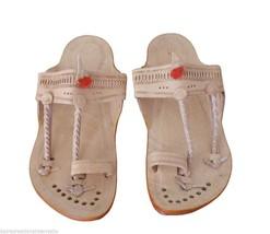 Men Slippers Kolhapuri Leather Traditional Slip On Flip-Flops Flat US 9  - $34.99