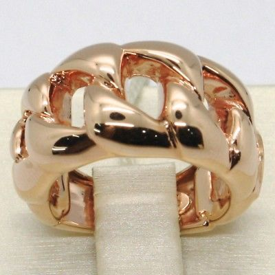18K  GOLD INFINITE CENTRAL RING, CUBAN GOURMETTE, BRAIDED, KNOT, MADE IN ITALY