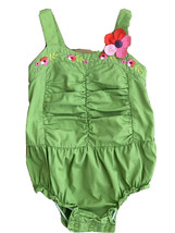 Gymboree One Piece Baby Girl, Green With Pink Flower, Size 18-24 Months Cotton - $14.84