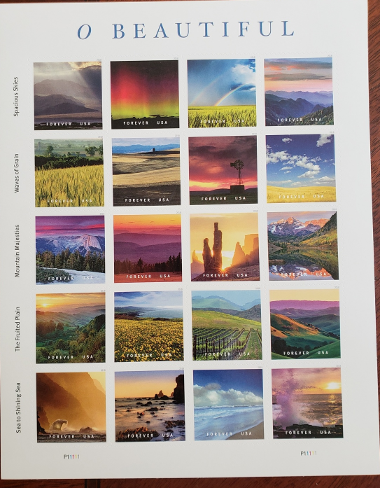 O Beautiful 2017 USPS Stamp Sheet of 20 Forever Stamps, New