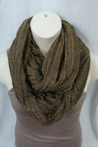 Echo Design Infinity Loop Brown Gold Acrylic Metallic Weave Cowl Scarf   - $14.27