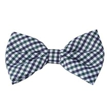 DBD3C02C Green Checkers Microfiber Handsome Pre-tied Bow Tie By Dan Smith - $14.44