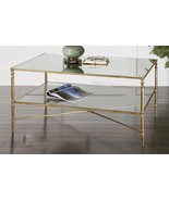 Horchow Barstow Gold glass Coffee Table Modern French Farmhouse Coastal - $567.27