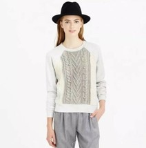 J Crew Cabled Wool Knit Pom Pom Pullover Sweater Part Grey Sweatshirt Si... - $58.41