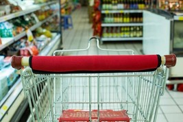 Klear Shopping Cart Handle Wrap Red Reusable Guard Cover Washable - $8.59