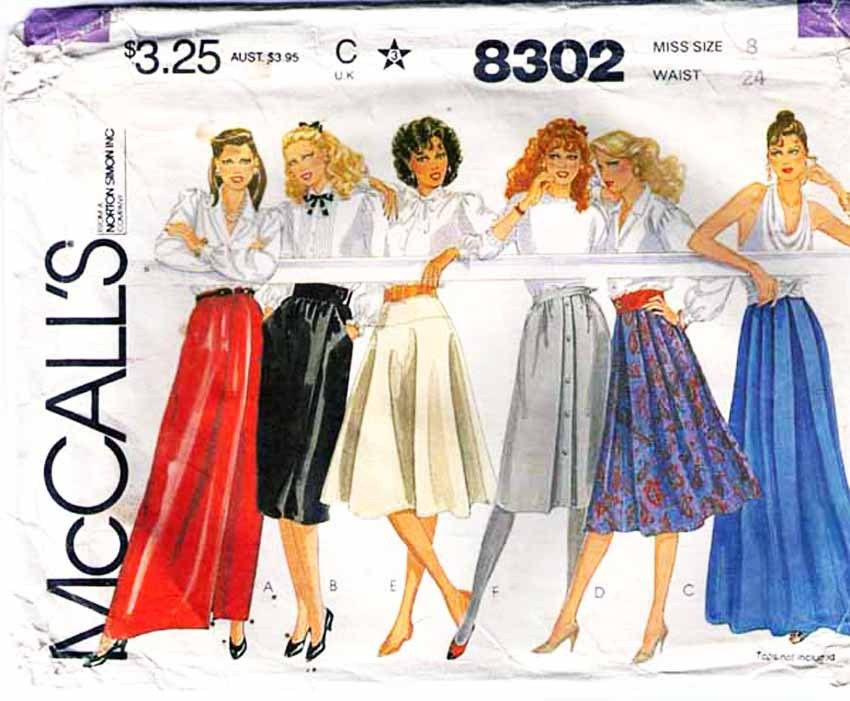 1982 Misses' SKIRTS Pattern 8302-m Size 8 - UNCUT