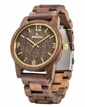 Men's Wooden Watch, Sentai Handmade Vintage Quartz Watches,   (Walnut Wood) - $42.97