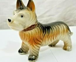 "Vintage Ceramic SCOTTIE TERRIER DOG FIGURINE Clean 6"" LONG Japan HAND PA... - $20.25"
