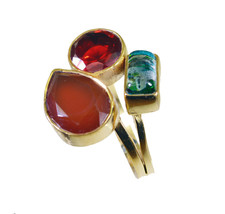 charming Multi Three Stone Gold Plated Multi Ring Natural jaipur US gift - $11.08