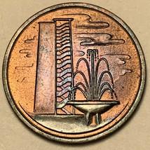 1969 SINGAPORE 1 ONE CENT BU STRIKING DEEP PURPLE TONED UNC GEM COLOR (DR) - $24.74