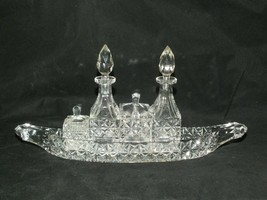 Vintage Lead Crystal Cut Clear Glass 5 Piece Cruet Set on Shape Boat Tray - $69.81