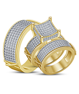 14k Yellow Gold Finish 925 Sterling Silver His Her Wedding Diamond Trio ... - $158.99
