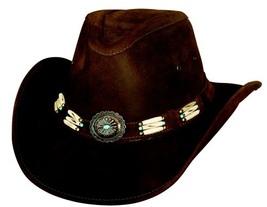 Bullhide Apalachee Leather Cowboy Genuine Hairpipe Bone Band Concho Bronze  - $90.00