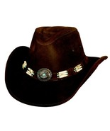Bullhide Apalachee Leather Cowboy Genuine Hairpipe Bone Band Concho Bronze  - £83.30 GBP