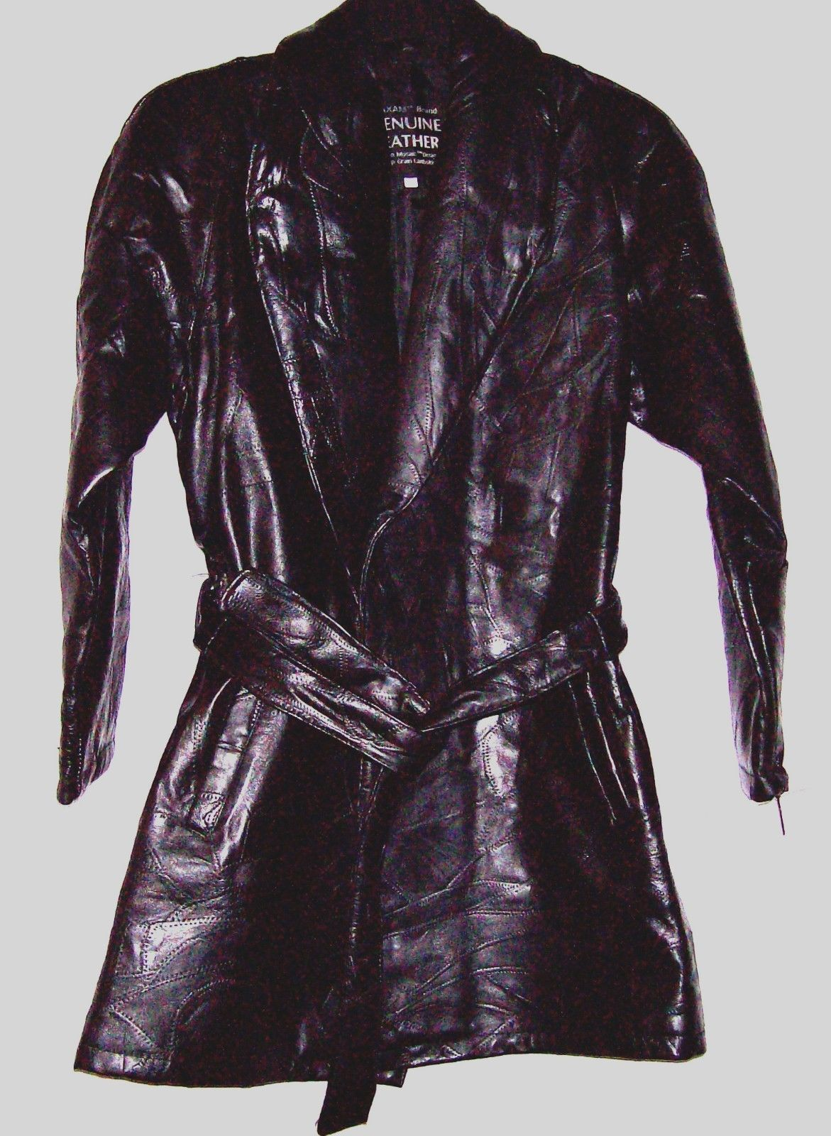 Maxam Italian Mosaic Design Ladies Lambskin Leather Jacket Belted Lined 3/4 NEW