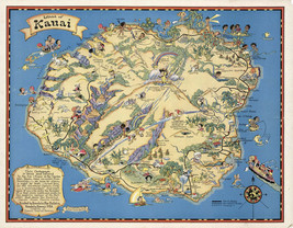 1931 Pictorial Map Hawaiian Island of Kauai Vintage Wall Art Poster Prin... - $12.38