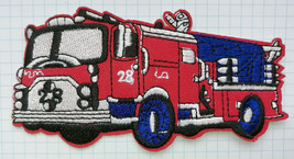 Red Fire Truck Fire Engine Embroidered Iron On Patch Aufnäher - $3.53