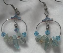 Aquamarine & Swarovski Crystal Hoop Earrings Hand Made In USA - $29.99