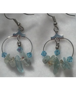Aquamarine & Swarovski Crystal Hoop Earrings Hand Made In USA - $29.99
