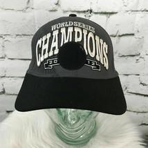 World Series Champions Mens Sz S-M Hat Black Gray Fitted New Era Ball Cap Flaw - £11.91 GBP