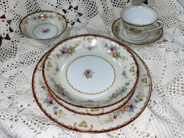 Japan KONGO CHINA Hand Painted Place Setting - Scroll & Floral - $47.41