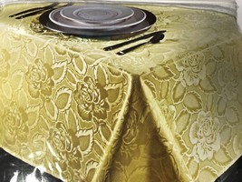 Laura Rose Tablecloth Jacquard Oblong 60 in by 102 in Gold NEW - $12.99