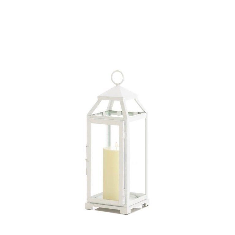 Medium Country White Candle Lantern Use Indoor/Outdoor