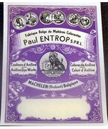 Victorian! Paul Entrop Dye Label, 1890's  - $1.59
