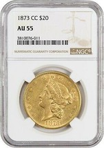 1873-CC NGC AU55 - Key Date - Liberty Double Eagle - Gold Coin - key date - $22,683.45