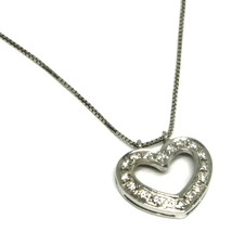 SOLID 18K WHITE GOLD NECKLACE WITH HEART DIAMONDS, DIAMOND MADE IN ITALY image 1