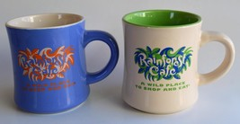 Rainforest Cafe ~ Beige & Green Blue ~ Coffee Cups Mugs ~ Advertising - $34.95