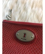 FOSSIL PERFECT ZIP COIN ID PURSE CLARET RED TEXTURED LEATHER Key Hole - $16.23