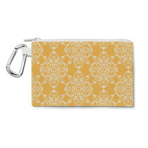 Yellow Retro Damask Canvas Zip Pouch - $15.99+