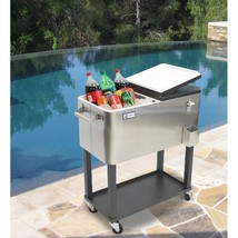 Stainless Steel Cooler On Wheels Patio Beverage Storage Perishable Foods... - $162.68