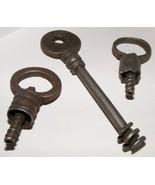 3 Antique Screw Type Skeleton Keys - $65.00