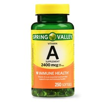 Spring Valley Vitamin A Immune Health 2400 mcg 250 Softgels..+ - $11.99
