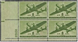 1944 8c Twin Motor Transport Plate Block of 4 US Airmail Stamps Catalog C26 MNH
