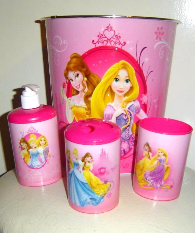 Disney Princess Bath Set 3 Piece Accessory Set Plus Wastebasket Bath Access