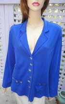 GOOD FORTUNE Indigo Blue Stretch Cotton Relaxed Fit Casual Jacket (M) - $14.60