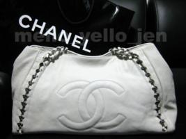 Chanel 06A White Calfskin Modern Chain E/W Tote Bag Silver Hardware - $2,199.00