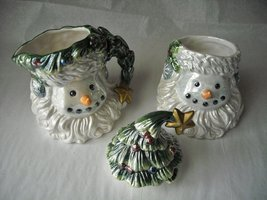 Santa Snowman Christmas Tree Cream & Sugar Collector Set Glazed Ceramic image 2