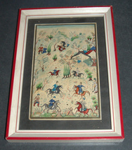 Antique Persian Handmade Miniature Painting Islamic Artwork Battle War Scene image 2