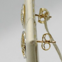 Earrings Yellow and White Gold 18k Round with Tree of Life Made in Italy image 2