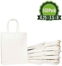 White Kraft Paper Gift Bags Bulk with Handles 6.25x3.5x8 [100 Bags]. Ide... - $38.36