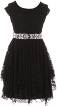Flower Girl Dress Floral Lace Ruffle Layers Skirt Black JKS 2095 - $29.69+