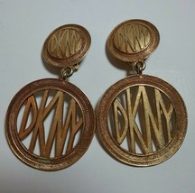 DKNY DONNA KAREN NEW YORK LARGE GOLD TONE VINTAGE CLIP ON EARRINGS - $150.00
