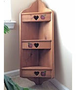 """Solid Wood 36"""" Hand Painted Corner Shelf 3-Tier w/ Heart Cut-Outs Natura... - $49.99"""