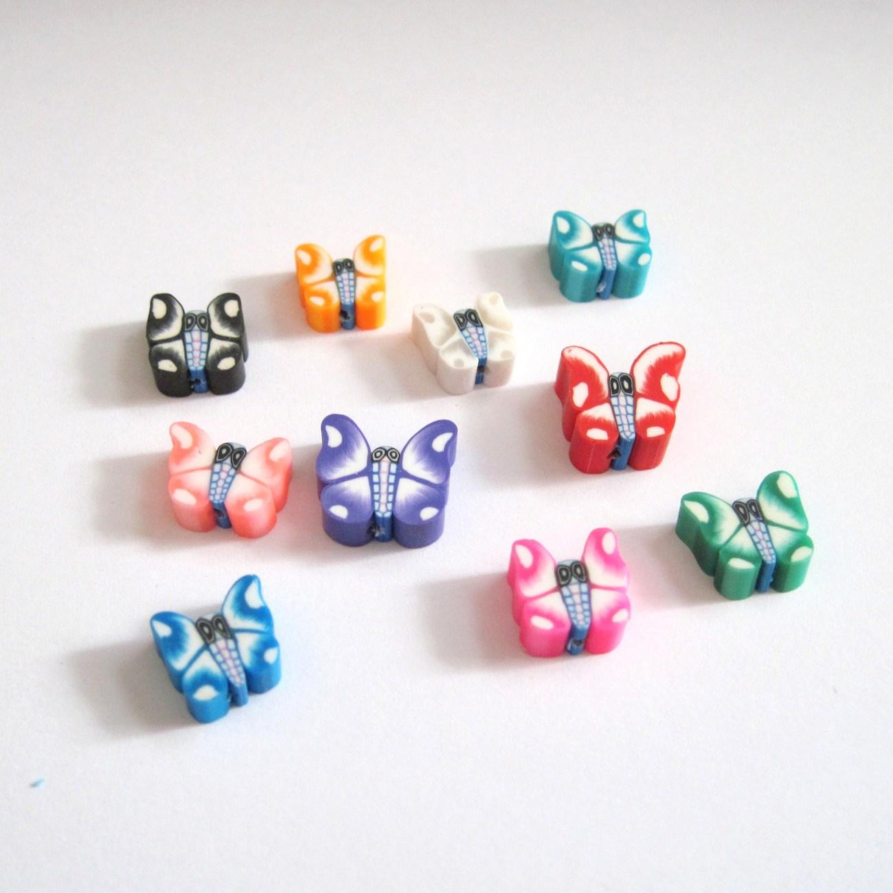 Beads Fimo Destash Butterflies Assorted Colors 10